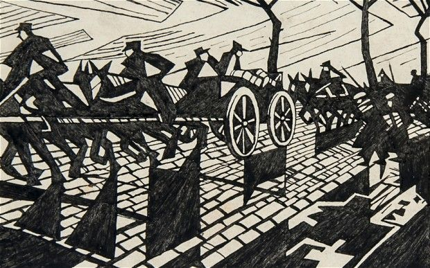 'On the Road to Ypres' by Christopher Nevinson: Lost work by renowned First World War artists come to light #Art #WWI