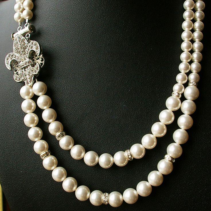 Fleur De Lis Bridal Necklace, Vintage Wedding Jewelry, Rhinestone Flower Necklace, Ivory White Pearl Necklace, FLEUR DE LIS. $89.00, via Etsy.