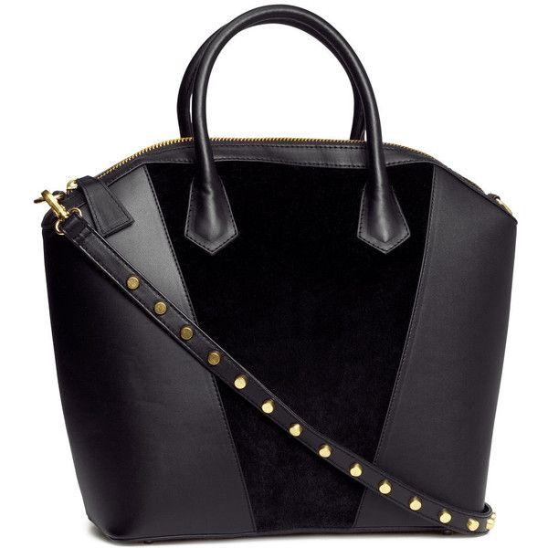 H&M Handbag ($46) ❤ liked on Polyvore featuring bags, handbags, shoulder bags, purses, accessories, bolsas, black, black studded shoulder bag, black leather shoulder bag and studded leather handbag