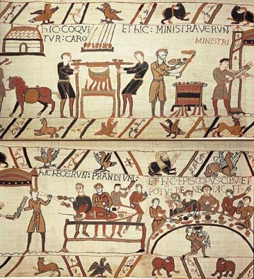 Cooks preparing a banquet for the William the Coqueror - Detail of the Bayeux Tapestry -- 11th Century