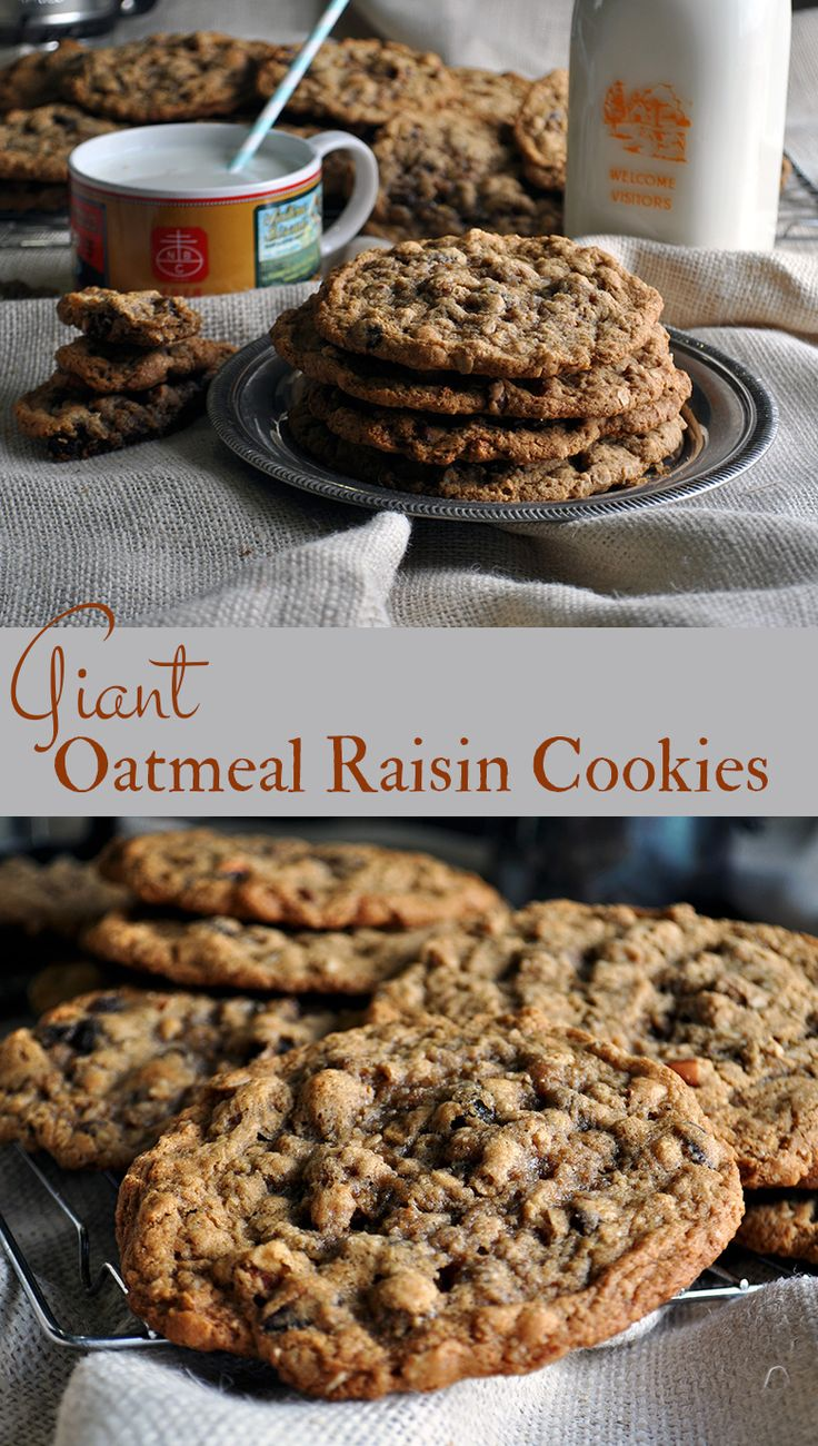 These giant chewy oatmeal raisin cookies are comfort food at it's best – thin, chewy, sweet and buttery, with a hint of cinnamon and nutmeg, and just the right amount of raisins and almonds. #cookies #oatmealcookies #comfortfood