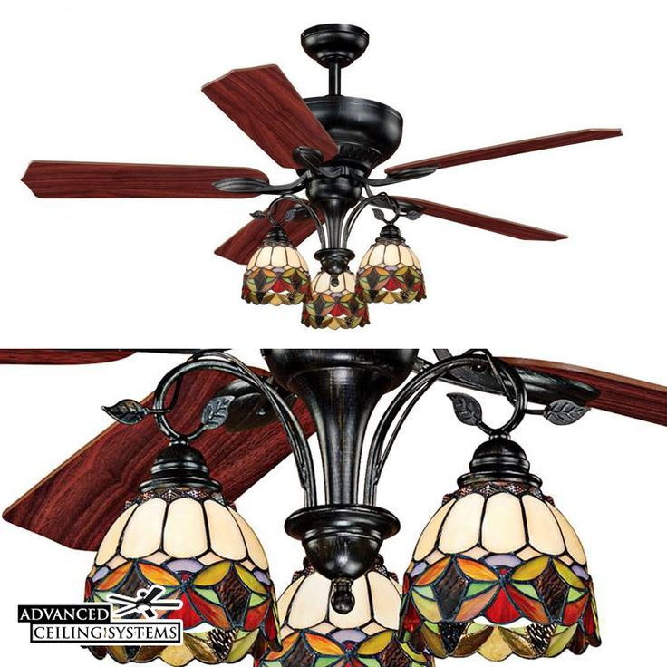 Vaxcel French Country Stained Glass Ceiling Fan - Find more unique Tiffany ceiling fans with lights at advancedceilingsystems.com