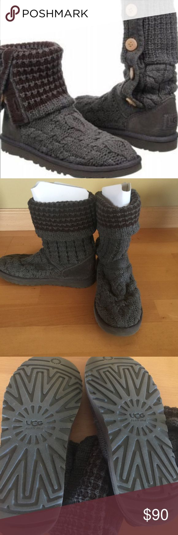 Original UGG Leland Sweater Boot Size 8 This gray and brown UGG boots have been previously worn but kept in excellent condition.   These boots are made in a sweater type style from the front and lined with sheepskin fur inside at the footbed only.   Boots can be rolled up see pic #1.   All four wooden buttons remain intact on both boots.  Boots are a tad dirty from the back heel and the heels are not even due to wear.   Please no trades but I do accept reasonable offers.   No low balling…