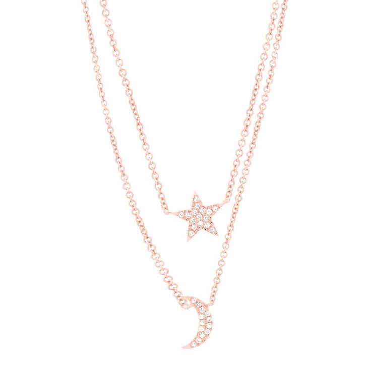 14K Rose Gold Diamond Star And Moon 2 Charm Pendant Double Chain Necklace  | eBay