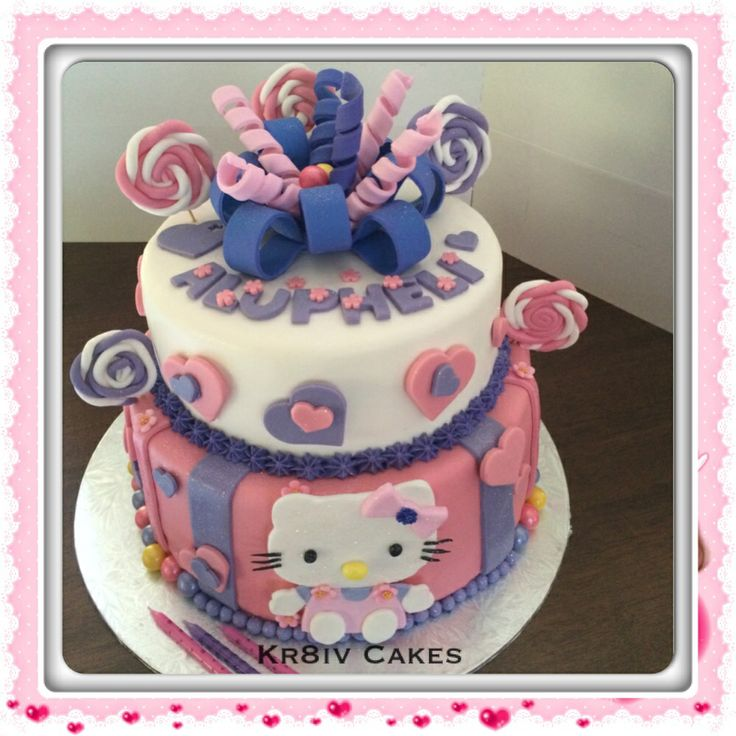 Hello Kitty 3yr old cake; 100% edible fondant extras