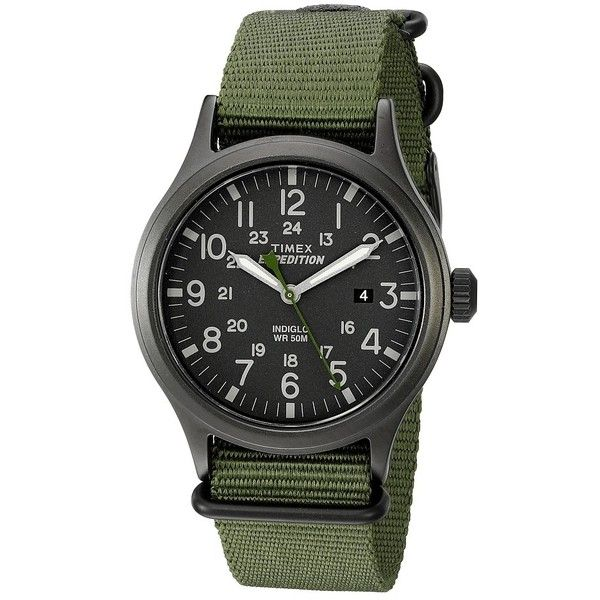 Timex Expedition Scout Nylon Slip-Thru Strap Watches (110 AUD) ❤ liked on Polyvore featuring jewelry, watches, crown jewelry, water resistant watches, military jewelry, timex and military style watches