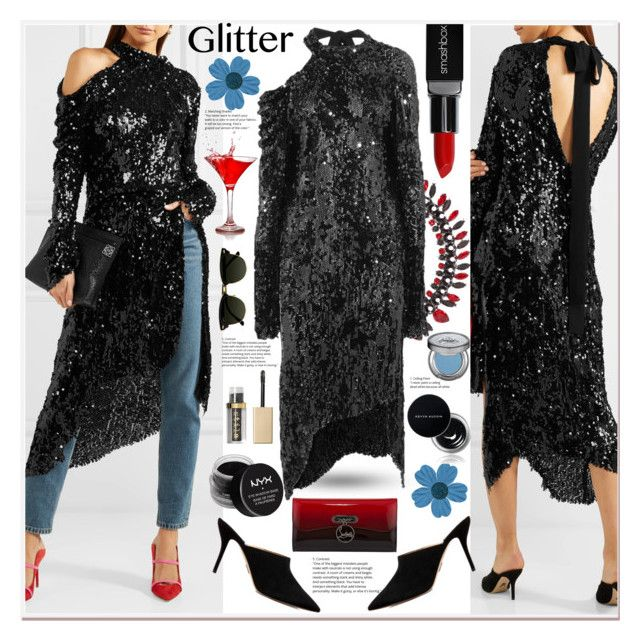 """""""Glitter Life"""" by zouus ❤ liked on Polyvore featuring Givenchy, Magda Butrym, Paul Andrew, Christian Louboutin, Smashbox, NYX, Kevyn Aucoin, Stila, Urban Decay and Pippa"""