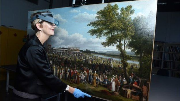 """Polly Smith, from Glasgow Museums with the John Knox painting """"Glasgow Fair"""""""