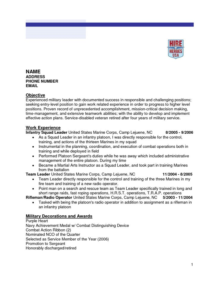 223 best Riez Sample Resumes images on Pinterest Sample resume - how to write a military resume