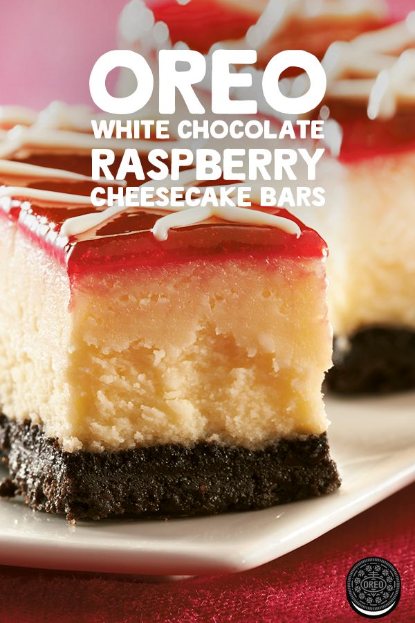 Creamy, decadent and so delicious, these are bound to be a hit. Make these OREO White Chocolate-Raspberry Cheesecake Bars at your next soiree.