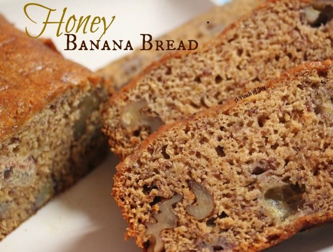 Honey Banana Bread - No added sugar or oil.  Made with honey and applesauce.  I made this the other day, and it tastes AMAZING! Love the hint of cinnamon.  I also added about a teaspoon of vanilla.  Very moist and delicious.
