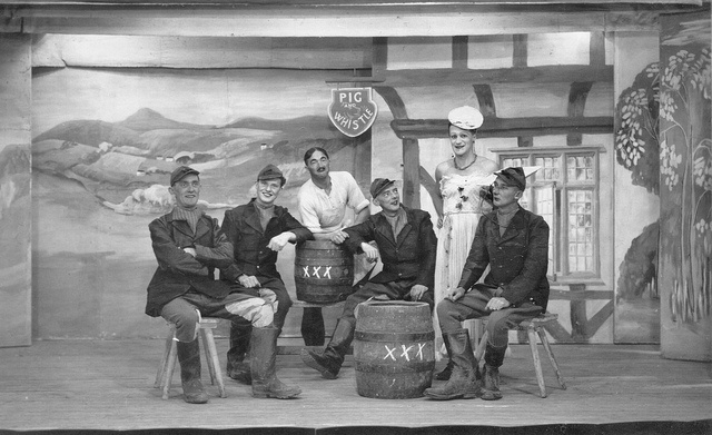 British prisoners of war on stage at camp Stalag XVIIIA