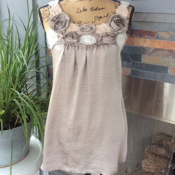 Floral Embellished Top Very satiny silk type blouse with lace and fabric roses around the neckline. Very delicate and feminine. Worn a few times, in great condition Studio Y Tops