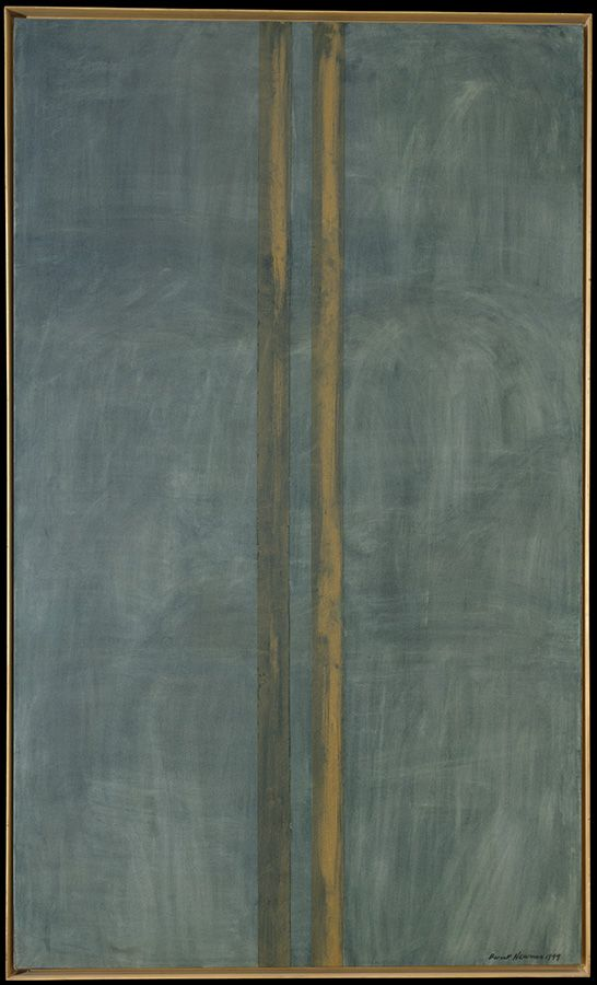 "Concord. 1949. Oil and masking tape on canvas, 89 3/4 x 53 5/8"" (228 x 136.2 cm)."
