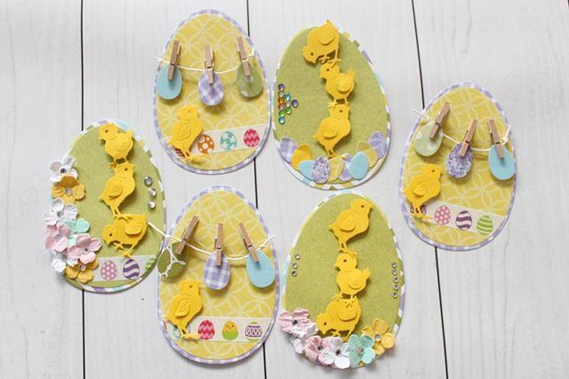 Easter card, handmade; Kartki w formie jajek