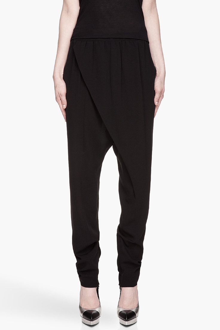 LANVIN Black Silk Crepe Crossover Front harem Pants