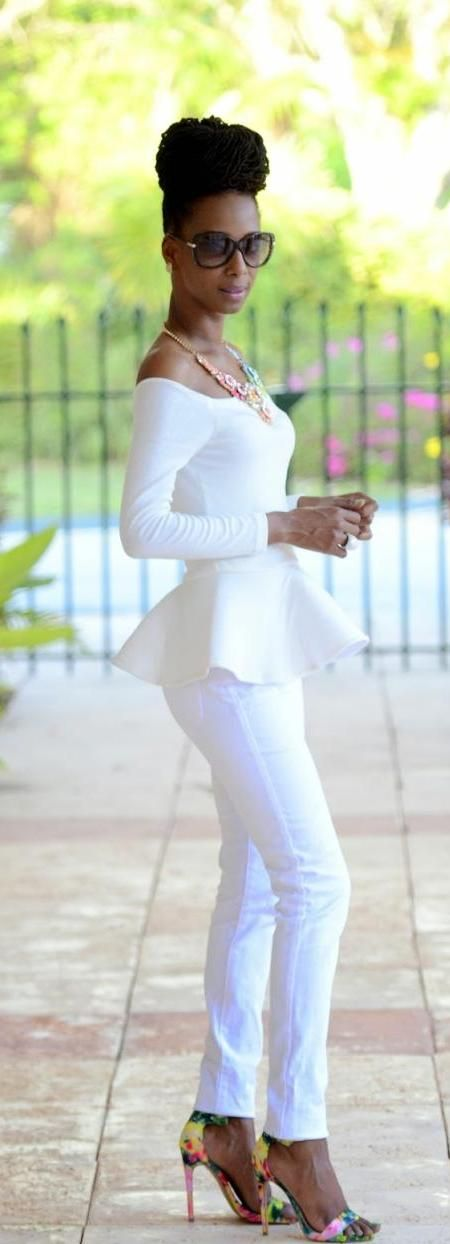 Looking good from head to toe. The all white and then the high updo. <3.
