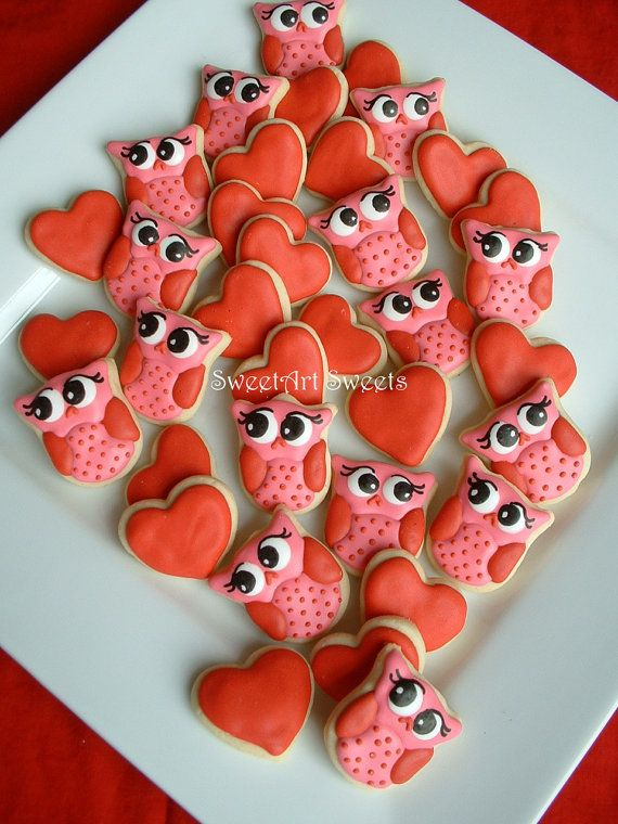 Valentines day  Owl cookies and Hearts  by SweetArtSweets on Etsy, $28.50