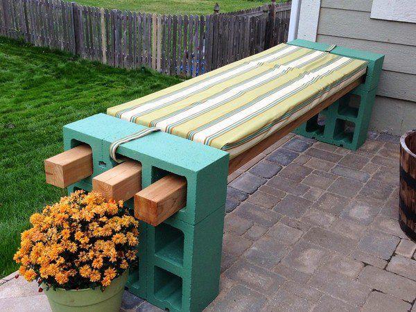 cool easy cheap DIY garden bench ideas cinder blocks green color wood slats bench padding
