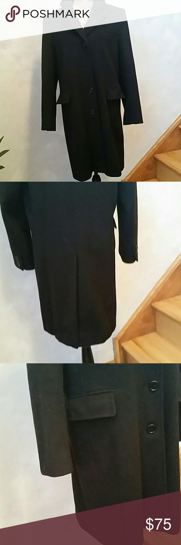 Gallery, Black Wool Coat. Size 10 Fully lined, small tear on inside lining near slit.  Not visible from outside.  2 side pockets and 1 hankerchief pocket.  Four button closure, one fell off and just needs to be sewn back on. Has nice back pleat opening.  75% Wool, 25% Nylon. Gallery Jackets & Coats Pea Coats