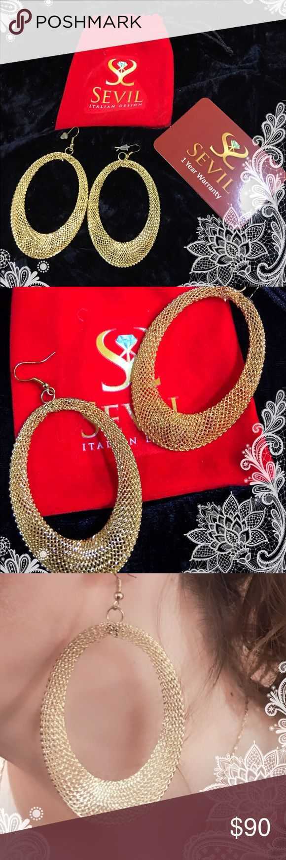"Sevil 18K Gold Earrings 18K Gold Mesh Endless Hoop Earrings 2""W 3""L Fine Jewelry is the leading Brand in the Gold plating process, this unique selection is guaranteed to elevate your style with these elegant hoop earrings. Breathtaking Gold mMesh is light yet very sturdy. Made in 🇧🇷 Brazil ( its hard to show how they shine) Sevil Jewelry Earrings"