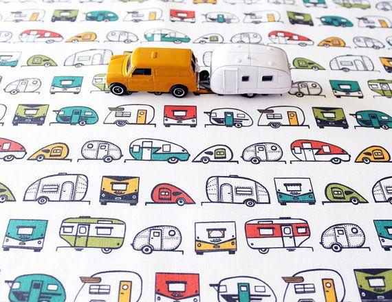 Travel Trailer Cotton Fabric / Camper Fabric / Teardrop Trailer / Retro Fabric / Fat Quarters / Multi Colored