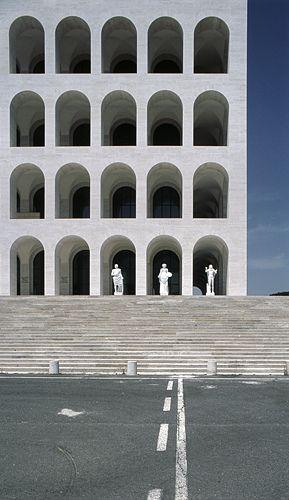 Close up of the Palazzo della Civilta Italiana (1938-43) by German photographer Hagen Sier