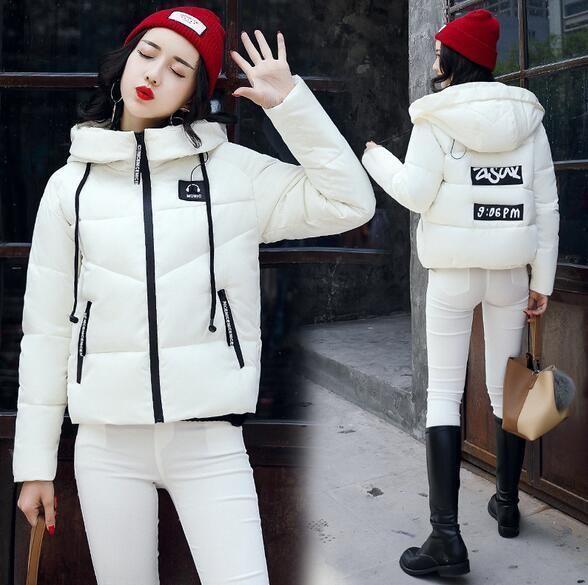Women Short Printing Jacket Down Cotton Coat Ladies Hooded Parka Outerwear