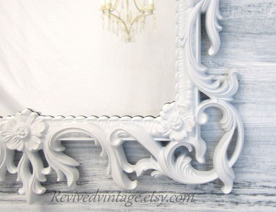 "WHITE FRAMED MIRROR Vintage For Sale 28""x19"" Syroco Hollywood Regency Decor Baby Girl Nursery White Mirror Vanity Mirror Bathroom Mirror"