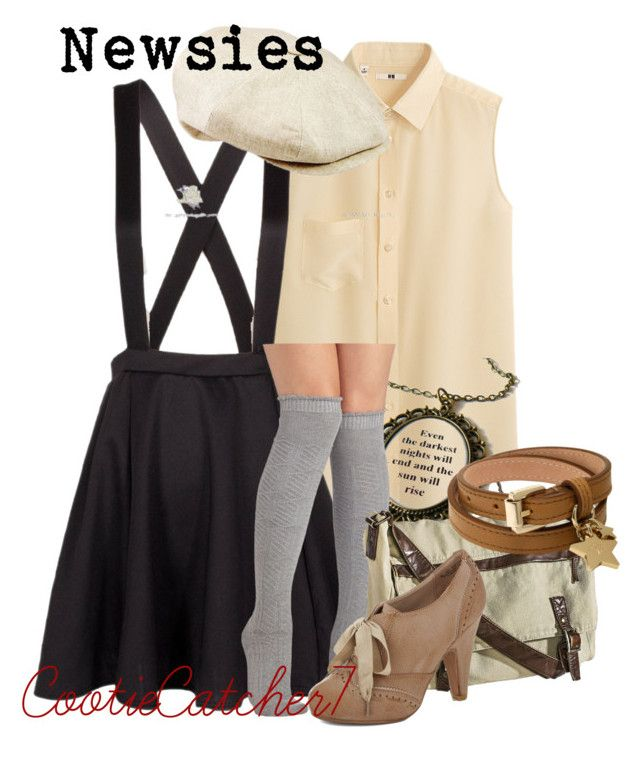 """Newsies"" by cootiecatcher7 ❤ liked on Polyvore featuring Uniqlo, Mossimo Supply Co. and Mulberry"