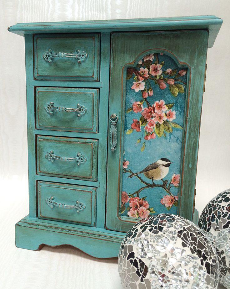 Vintage painted & decoupaged jewellery box by LivvysLoft on Etsy