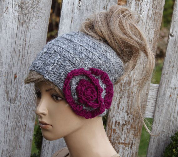 Messy bun beanie Women Hat Winter messy bun hat Crochet by Degra2