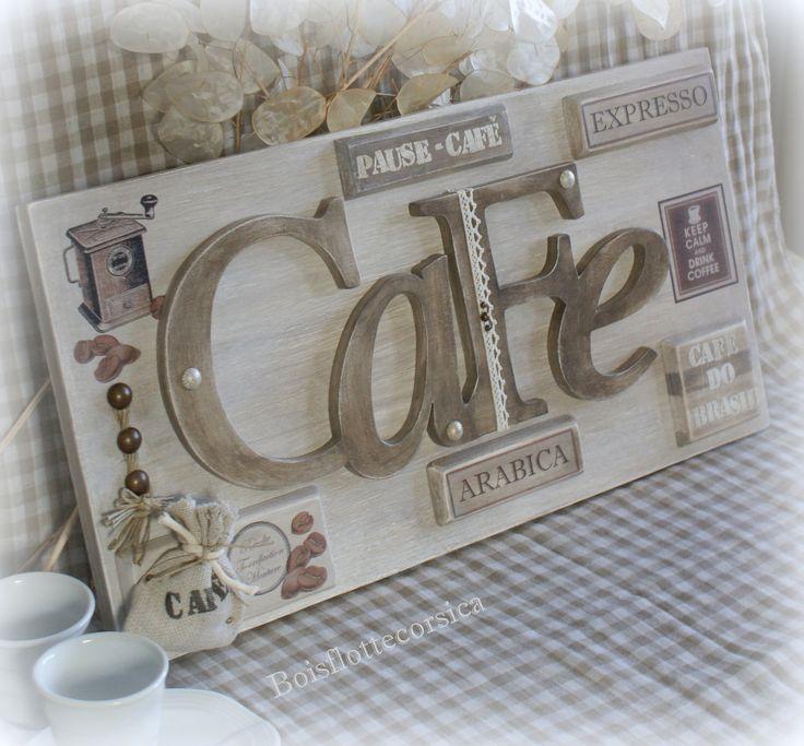 Tableau en bois chantournage th me caf commande for Plaques decoratives murales