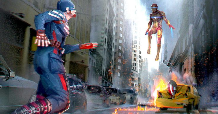 Iron Man & Captain America Face Off in 'Civil War' Promo Art -- Captain America and Iron Man square off in leaked promo artwork for Marvel's highly-anticipated Phase Three adventure 'Captain America: Civil War'. -- http://movieweb.com/captain-america-civil-war-art-iron-man-fight/