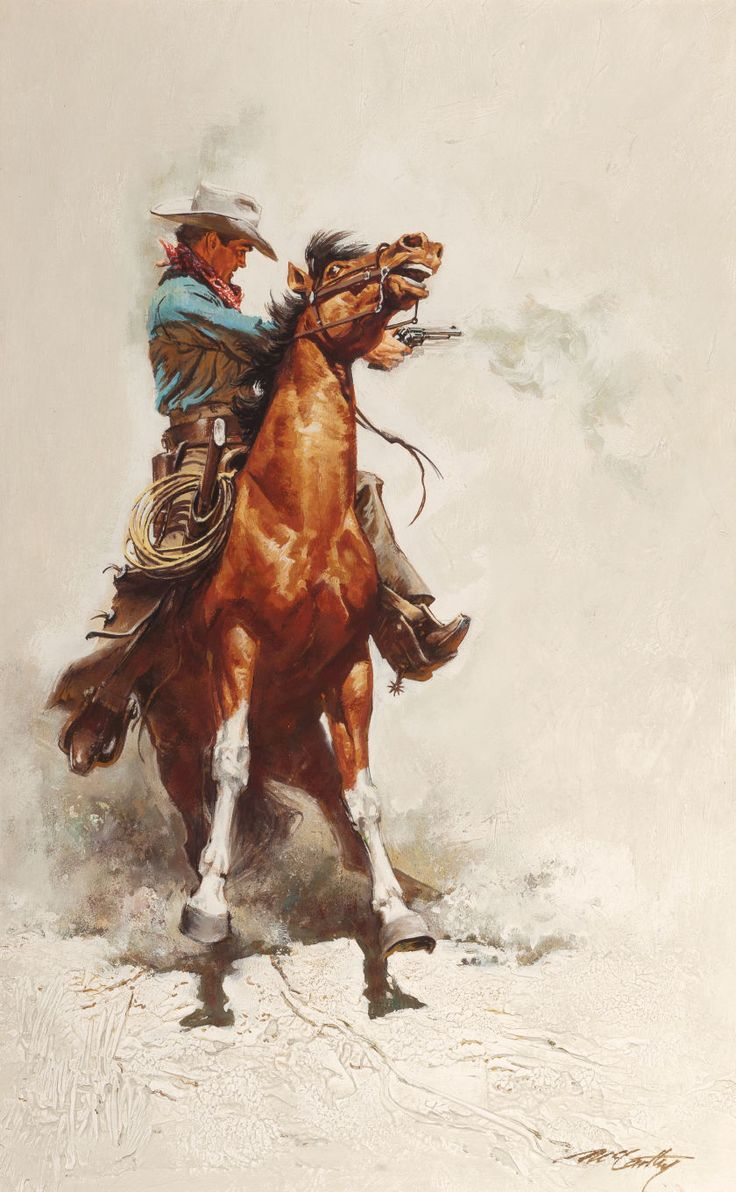 Western, FRANK MCCARTHY (American, 1924-2002). Shooting From theSaddle. Oil on artists' board. 24 x 15 inches (61.0 x 38.1 cm).... Image #1