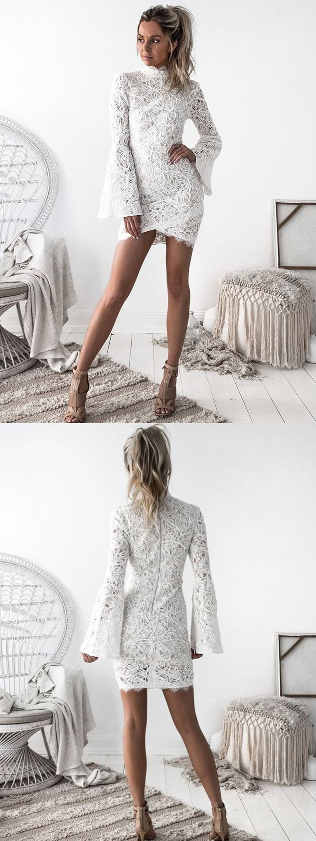 chic long sleeves white lace homecoming dresses, simple tight semi formal dresses, short white bodycon prom dresses.