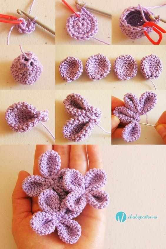 4 petal flower, free pattern, photo tutorial, written instructions/ Flor de 4…: