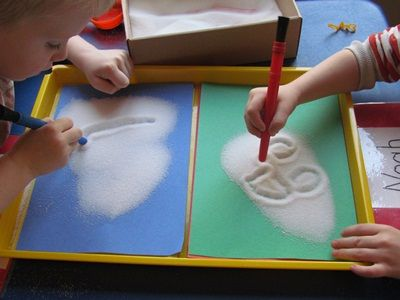 Writing in Salt, one of the things I like about this set-up is that the kids get their materials for themselves.