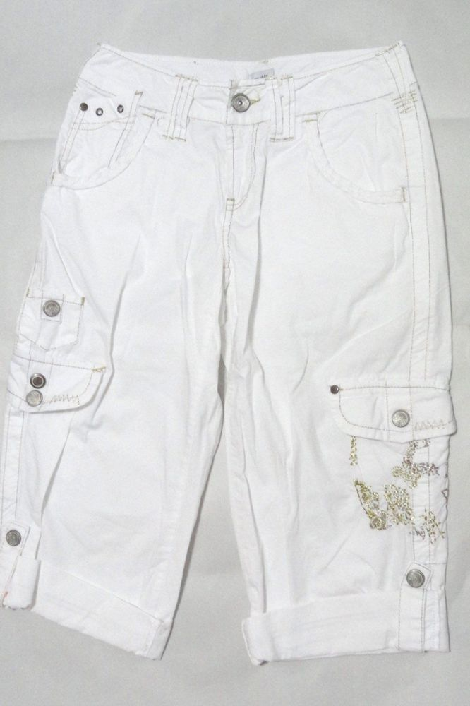 Cache White Embroidered Gold Bermuda Shorts Capri Cropped Pants 0 Small XS S #Cache #CaprisCropped