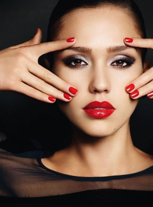 Red Lipstick for Morena or Tan Skin. Jessica Alba