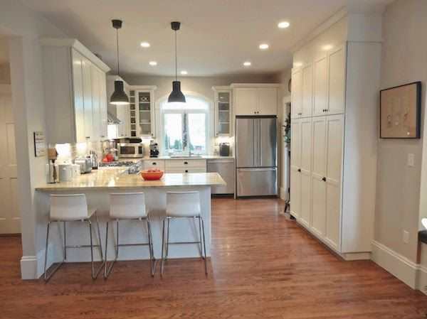 Mondays With Love Our Kitchen With Peninsula Bar Off White Shaker Cabinets Black Hardware