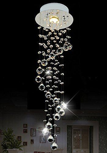 "Moooni Modern Mini Crystal Chandelier Lighting Raindrop 1 - Light Pendant Lighting D7.9"" x H29.5"""