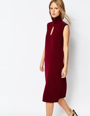 The Laden Showroom Dream Turtleneck Midi Dress with Keyhole