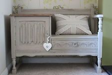 Oak Shabby Chic Telephone Table Seat painted in Annie Sloan