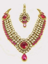 Exotic Gold Plated Necklace Set Adorned With Shiny Cz, White & Pink Stones