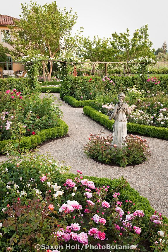 Gravel path through california flower garden with statue for Formal rose garden layout