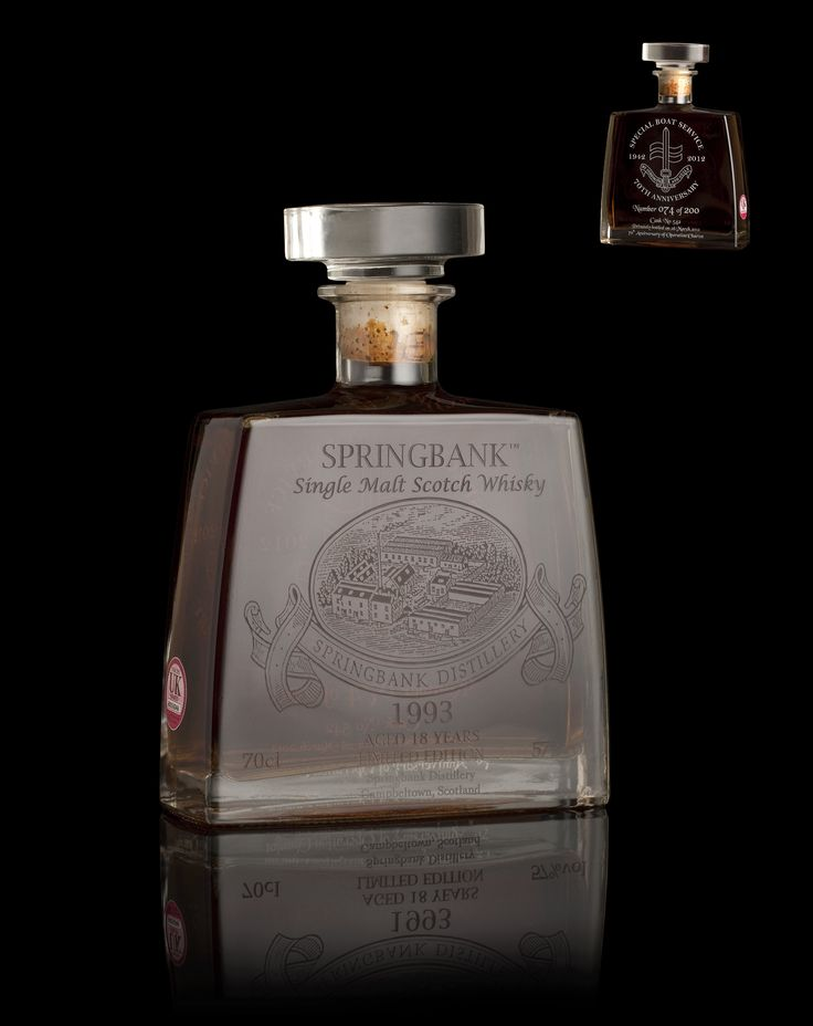 A very rare bottle of Springbank, 1993, privately bottled in 2012 to mark the 70th anniversary of the Special Boat Service's contribution to Operation Chariot in 1942.