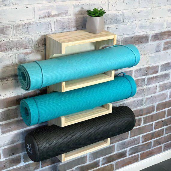 Yoga Mat Rack Handmade Wood Yoga Mat Holder Or Towel Holder Etsy Yoga Mat Holder Yoga Mat Storage Yoga Mat