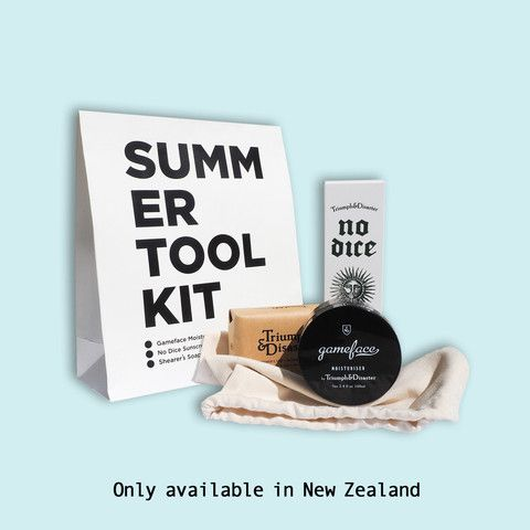 Triumph & Disaster Summer Tool Kit For you, the valued punter! We have put together the 'Summer Tool Kit'.  A bag of loot designed for beach lovers across the nation. Filled with No Dice Sunscreen, Shearers Soap and a Jar of Gameface Moisturiser this kit is sure to keep people safe, fresh and clean through the dizzy months to come. $110.