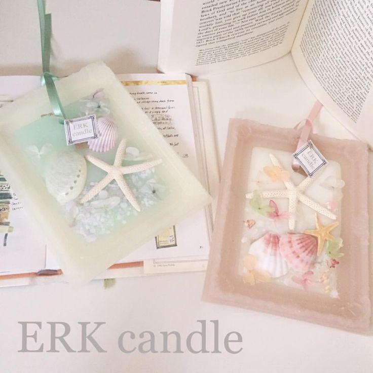大人マリンのフレームバージョン(o^^o)♡ ピンクもクラシックな色味で(u_u)♡ 香りは色々ミックスでとてもいい香り♡ #candle #aroma #キャンドル #handmade #shell - erkcandle